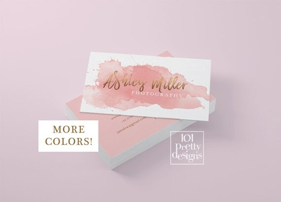 Watercolor business card template rose gold printable business card il570xn colourmoves
