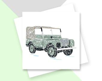 Vintage Land Rover greetings card