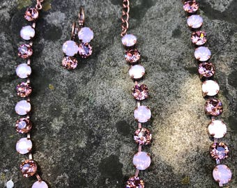 8mm swarovski rose blush necklace set