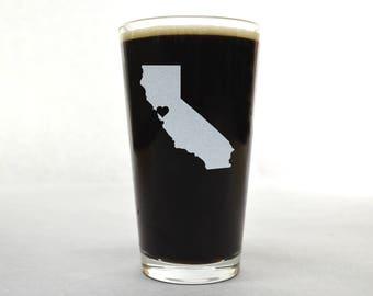 California Pint Glass - State Pint Glass - Pint Glass - Personalized Pint Glass - Etched Pint Glass - Groomsmen Pint Glass