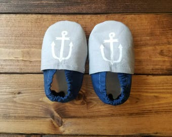 0-6 month nautical baby shoes, infant fabric moccasins, gray baby booties, crib shoes.