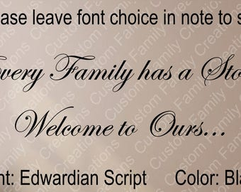 Every Family has a Story Welcome To Ours... Vinyl Wall Decal, Removable Wall DECAL,Family Quote,Custom Vinyl Wall Decal