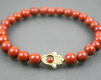 Red jasper stacking stretch bracelet with gold toned Hand of Fatima or Hamsa bracelet
