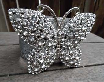 Silver Rhinestone Encrusted Butterfly Upcycled Leather Statement Cuff Bracelet