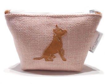 Pink Makeup Bag, Dog Pencil Case, Staffie Cosmetic Bag, Pink Cosmetic Bag