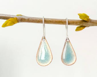 transparent turquoise raindrop earrings