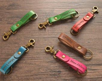 Leather keychain, key chains personalized, custom engraved keychain, handmade gifts, personalized keychains, stamped keychain, key fob, 589
