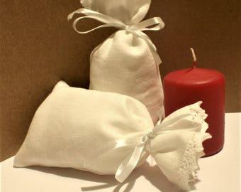 "10 pcs White Linen Pouches * Wedding Gift Bags * Bridal Favor Bags * Baho Wedding * 4"" x 6"" ( 10cm x 15cm)"