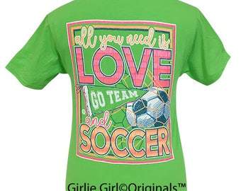 Girlie Girl Originals All You Need Is Love & Soccer Kiwi Short Sleeve T-Shirt