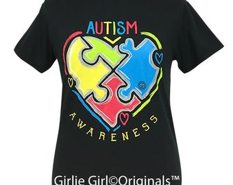 Girlie Girl Originals Autism Black Short Sleeve T-Shirt
