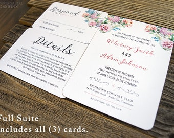 Boho Wedding Invitation Suite. Boho Chic Invites. Custom Invitation. Simple Wedding Suite. Boho Wedding Invites. Floral Wedding Suite.