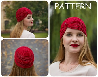 Crochet Pattern - Beanie Hat With Bead Crochet Pattern - Lace Crochet Graph Pattern - Chemo Hat Pattern - DIY Summer Women's Hat Pattern
