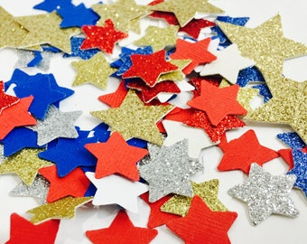 100pc Fourth of July confetti, Red white and blue confetti