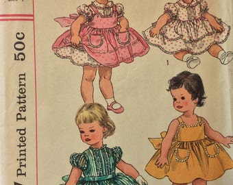 Simplicity 2020 girls dress and pinafore size 1 vintage 1950's sewing pattern   Uncut  Factory Folds