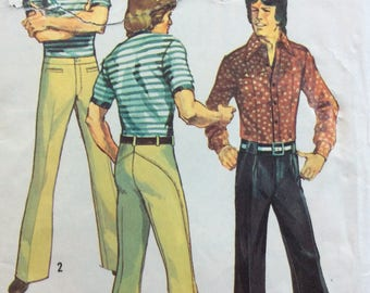 Simplicity 5443 vintage 1970's mens hip-hugger bell-bottom pants sewing pattern wast 34