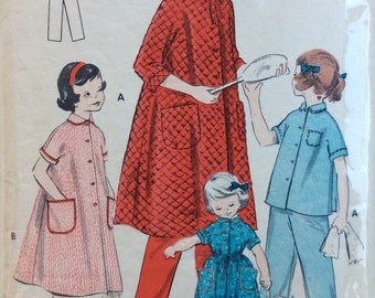 Butterick 7407 girls pajamas and robe size 14 bust 32 vintage 1950's sewing pattern