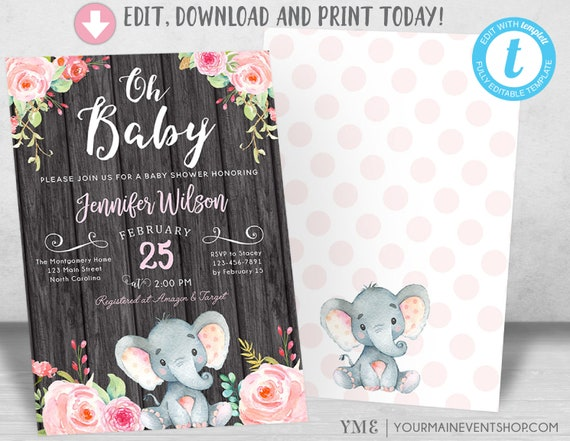 Elephant Baby Shower Invitation, Girl Pink Elephant Baby Shower, Jungle Baby Shower Invite, It's a Girl, Diaper Raffle Book Request