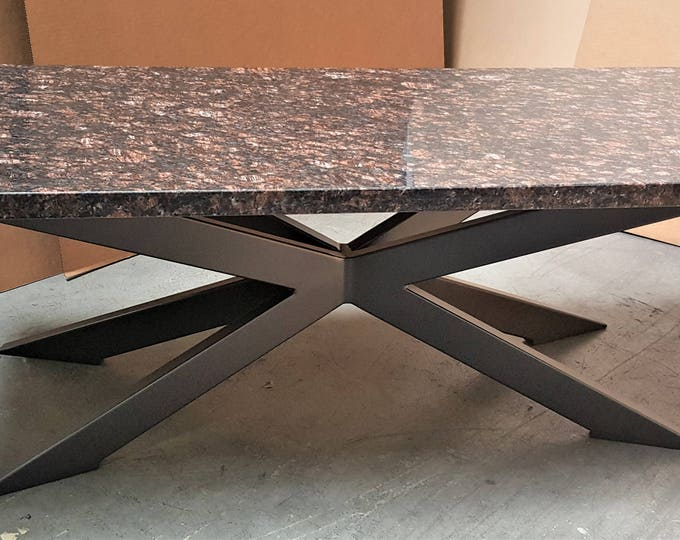 Modern Granite Coffee Table With Chic Tubing Legs