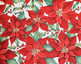 Poinsettia Fabric, Poinsettia Christmas Fabric, Christmas Fabric, Vintage Christmas Fabric, Vintage Quilting Fabric, Christmas Quilting