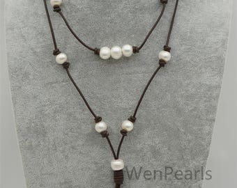 White pearl and leather necklace,near round Freshwater Pearl Drop Necklace,gift for her,Wen pearls,wholesale,Le4-114