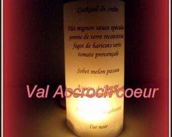 Menu candle cylinder for baptism cinema themed wedding
