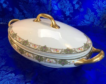 "Antique Bawo & Dotter Elite Works Limoges BWD61 10"" Oval Covered Vegetable Bowl France casserole"