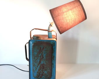 vintage lamp, upcycled lamp, oil can lamp, vintage light, fuel can lamp, esso can, oil can, upcycled light, industrial lamp,