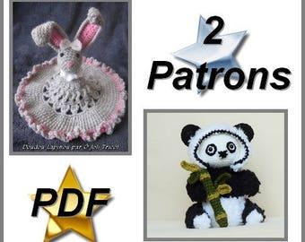 PDFCrochetPattern- Doudou Lapinou & Pandy Panda_