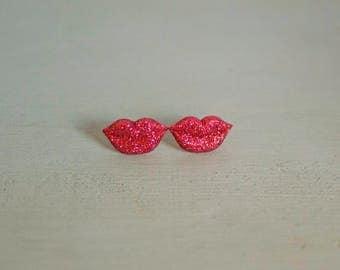 Valentine's Jewelry, Valentine's Earrings, Red Lips Jewelry, Red Lips Earrings, Sparkly Jewelry, Kiss Me Jewelry, Kiss Me Earrings