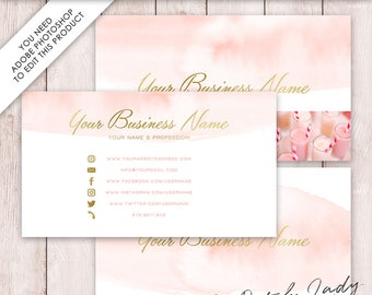 Photoshop Business Card Template - 3 Part Design - INSTANT DOWNLOAD - Layered .PSD Files - Design #2