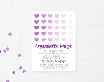 Purple Birthday Party Invitation, Birthday Invitations for Girls, Birthday Decorations for Girls, Girl Birthday Party Invitations [136]