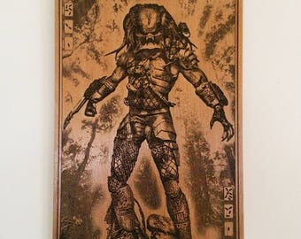 Predator,Man Cave Art,Geek Gift,Wood Laser Engraved,Him Anniversary,Unique Geekery,Alien vs Predator Movie,Movie Room,Home Theater Decor