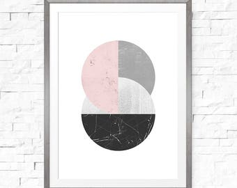 Geometric art print, Art print download, Printable art, Abstract canvas wall art, Pink geometric print, Minimalist art, Geometric wall art