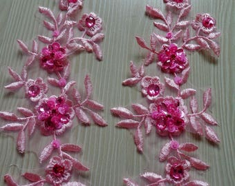Handmade sew on crystal trim patches pink lace applique with bead sequins rhinestones 25*8cm for top dress skirt