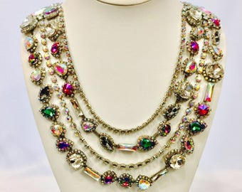 Rhinestone Multi-Colored Handmade Necklace