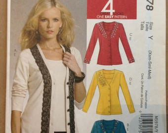 McCalls M5978 Cardigan and Top Twin Set in Four Easy Styles - XS S M