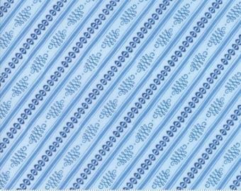 Moda BLOOMSBURY by Franny and Jane-stripe in light blue-(47517 15)-by the YARD