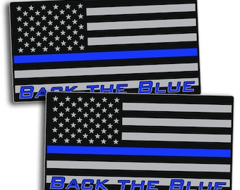 Back the Blue Police Officer Flag Decal Sticker -USA FLAG 2nd Amendment Gun Law Enforcement Lives Matter Sheriff America
