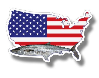 king Mackerel USA Flag Sticker Printed Digital Vinyl Decal Fishing Car Truck Boat Patriotic American America Laptop US Reel