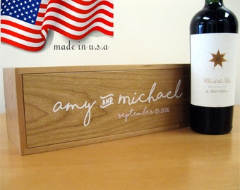 Wine Box - Wedding Wine Box - Wooden Box - Wedding Gift - Made In USA - Wine Box Ceremony