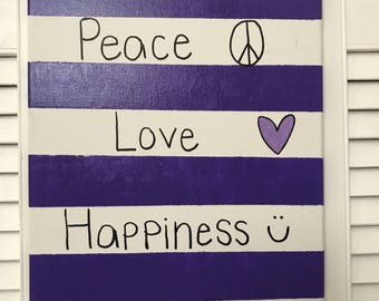 Peace Love & Happiness Canvas