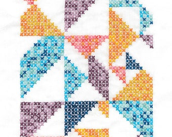DMC Geometry Rules Printed Embroidery Kit - Pixel Nation - ideal for beginners