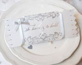 Silver Wedding Favour Cracker Cards  make your reception go with a bang, To have and to Hold silver ribbon and foiled wedding favour holder