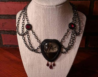 """Necklace """"Broken Heart"""", dramatic  bead and gem embroidery necklace, unique simbircite geode"""