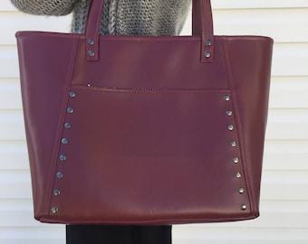 Burgundy Vegan Leather / Tote Bag / Burgundy Leather / Tote / Burgundy Bag / Shoulder Bag / Oxblood Leather Tote / Oxblood Vegan Leather