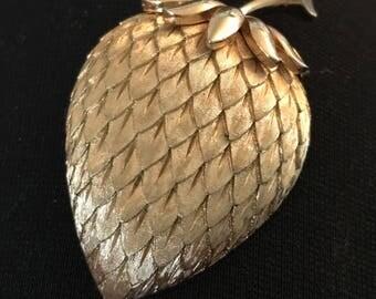 Vintage Trifari Strawberry Pin Brush Gold