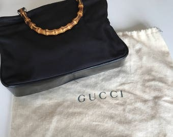 Black Gucci Vintage Bag with Bamboo Handles