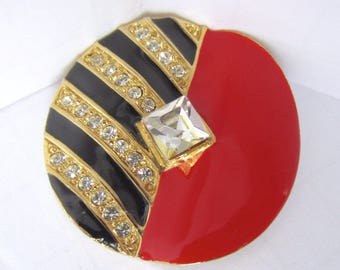 """Signed """"Craft"""" MODERNIST Art Deco inspired Black stripes & Red Enamel, crystal Pin ~EYE catching vintage costume jewelry"""