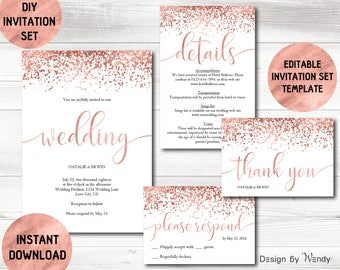 rose gold wedding invitation template calligraphy wedding invitation suite diy rose gold confetti editable - Rose Gold Wedding Invitations
