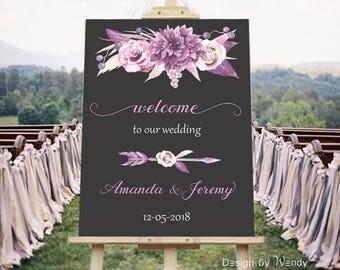 Mauve And Gray Wedding Sign Printable Welcome Purple Decoration